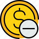 bank, banking, cash, coin, currency, remove icon