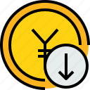 arrow, bank, banking, cash, coin, currency icon