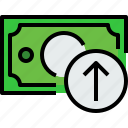 arrow, bank, banking, bill, cash, currency, money icon