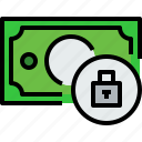 bank, banking, bill, cash, currency, lock, money icon