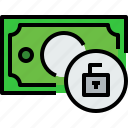 bank, banking, bill, cash, currency, money, unlock icon
