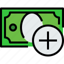 add, bank, banking, bill, cash, currency, money icon