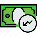 bank, banking, bill, cash, currency, graph, money icon