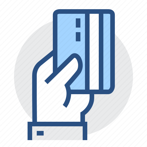 Credit, payment, card, finance, bank, plastic, hand icon