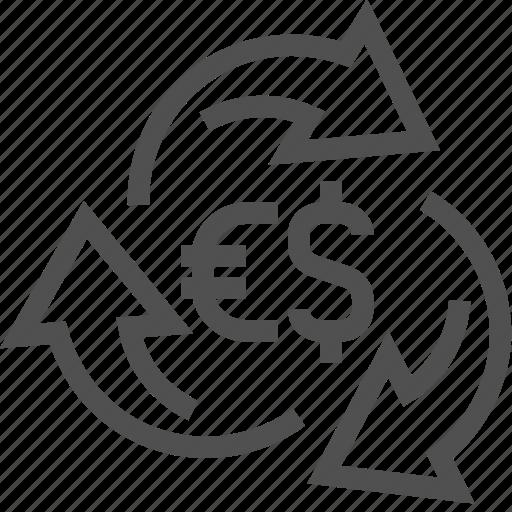 arrow, change, currency, dollar, euro, exchange, money icon