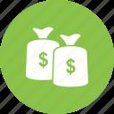 cash, coins, currency, dollar, monetary, money bag, sack