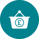 basket, business, cash, currency, money, pound, wealth icon