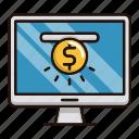 funding, monitor, online, platform icon