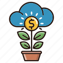 growth, increase, investments, money, plant icon