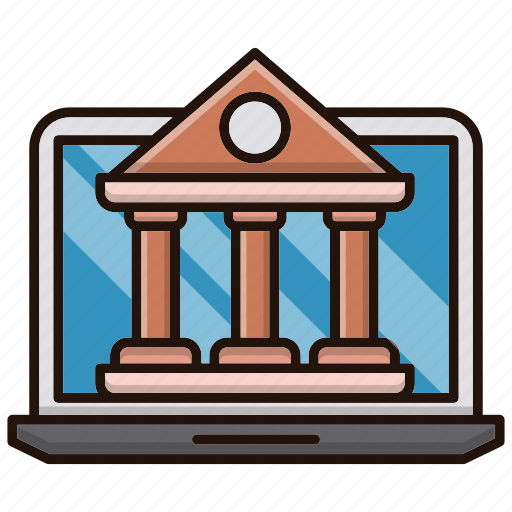 bank, banking, computer, internet, online icon