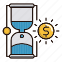 clock, hourglass, money, strategy, time icon