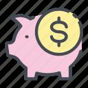 bank, coin, dollar, money, pig, piggy, savings
