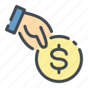 coin, dollar, hand, hold, money, pay, payment icon