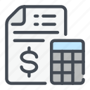 bill, calculation, calculator, dollar, invoice, money, pay icon