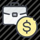 business, case, coin, dollar, money, suitcase icon