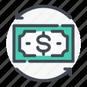 change, dollar, exchange, money, note, refresh icon
