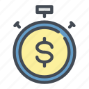 coin, dollar, fast, money, stopwatch, time, transaction icon