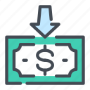dollar, income, invoice, money, note, pay, payment icon