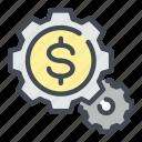change, coin, dollar, gear, money, settings icon