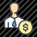 bank, banking, coin, dollar, man, money, person icon