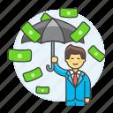 finance, cash, dollar, protection, management, business, male, rain, secure, umbrella, money, insurance
