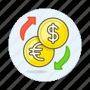 coin, currencies, dollar, euro, exchange, finance, money icon