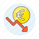arrow, coin, currencies, decreasing, down, euro, fall, finance, graph, line, money icon