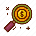 finance, money, magnifier, analytic, bank, dollar, currency icon