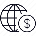 dollar, finance, global, globe, money, worldwide icon