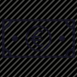 bill, euro, finance, money icon