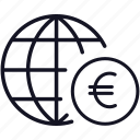 euro, finance, global, globe, money, worldwide icon