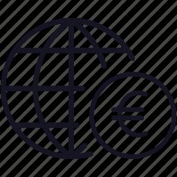 euro, finance, global, globe, money, worldwide icon