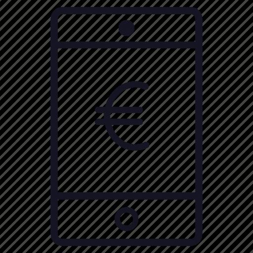 application, euro, finance, money, phone icon