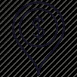 dollar, map, money, pin, pointer icon