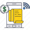 dollar, mobile, money, online, payment, phone, slip icon
