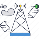 communication, messages, mobile, network, signal, tower icon