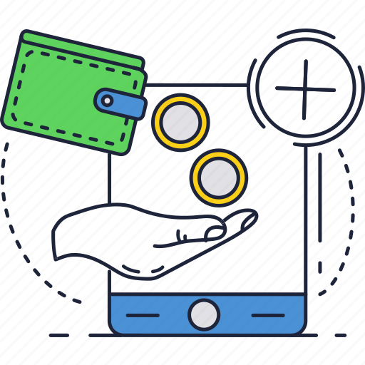 coins, mobile, money, online, phone, smartphone, wallet icon