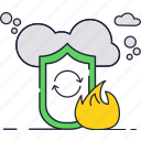 cloud, fire, insurance, protect, security, shield icon