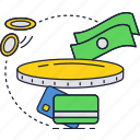 bank, banknotes, card, coins, credit, currency, money icon