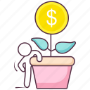 business growth, dollar plant, finance advancement, money growth, potted plant icon