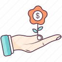 business advancement, business growth, financial growth, money plant, sprout icon