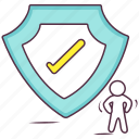 antivirus, protection, security shield, shield buckler, verified security icon