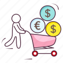 business finance, ecommerce, finance cart, shopping cart icon