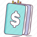 booklet, business diary, cash book, diary, finance book icon