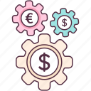 business configuration, business setting, finance configuration, finance setting, money flow icon