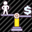 budget balance, equilibrium, financial balance, seesaw balance, weight balance icon
