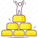 billion, financial investment, gold stack, money stack, stacked investment icon
