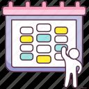 agenda, calendar, date, event schedule, schedule icon