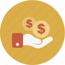 business, dollar, finance, hand, money icon
