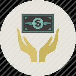 business, dollar, finance, hand, money icon